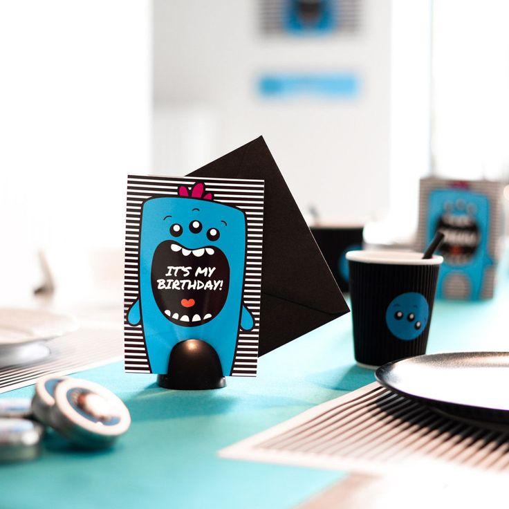 Opgelet: feestgevaar met deze blauwe Mega Monster uitnodigingen – Beaublue #invitations #megamonster #beaublue