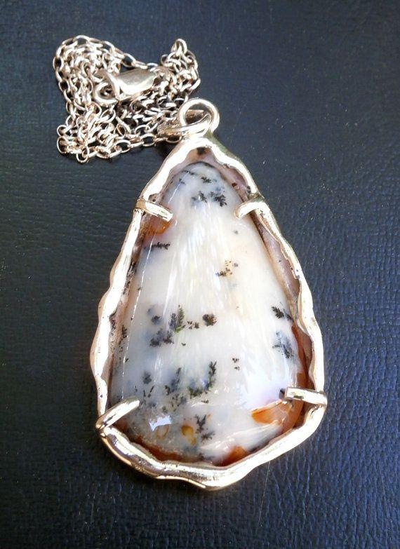 Dendritic Agate Teardrop Silver Pendant  by JewelryByKonstantis