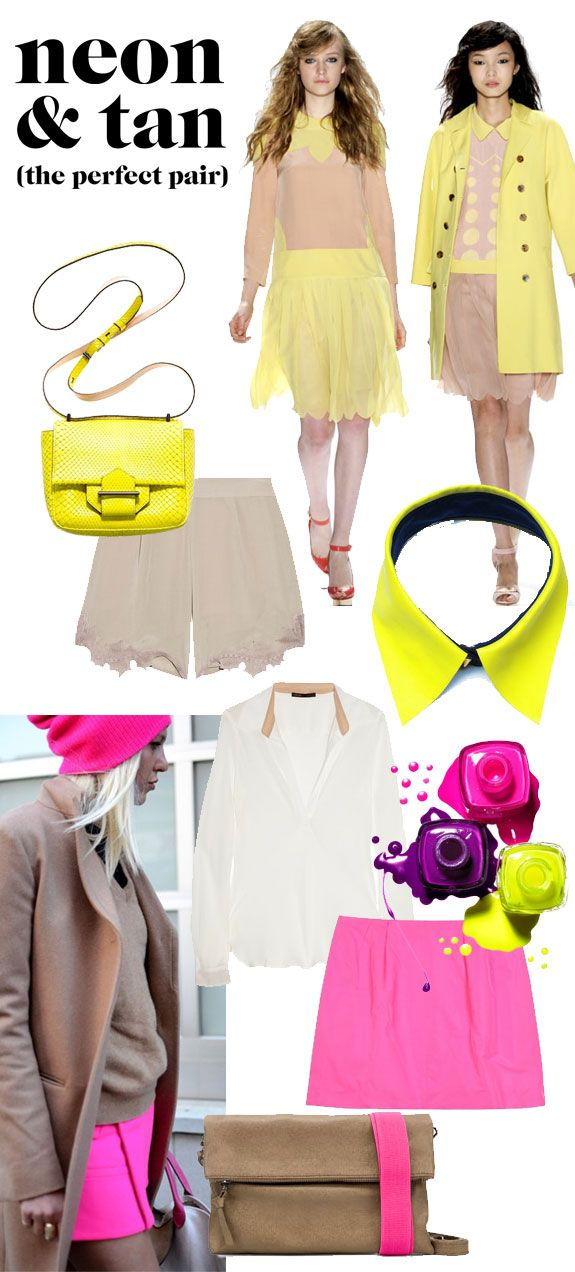 what's the best way to incorporate neons into a color-phob's wardrobe? pairing it with tan. pretty, huh?  jill stuart spring 2012, reed krakoff bag / leather citron collar / MAJE blouse / nina ricci skirt / emma cook shorts / zara bag / nail polish / sally lyndley