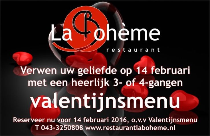 Culinair genieten met je geliefde tijdens Valentijnsdag bij restaurant La Boheme in Maastricht 043-3250808