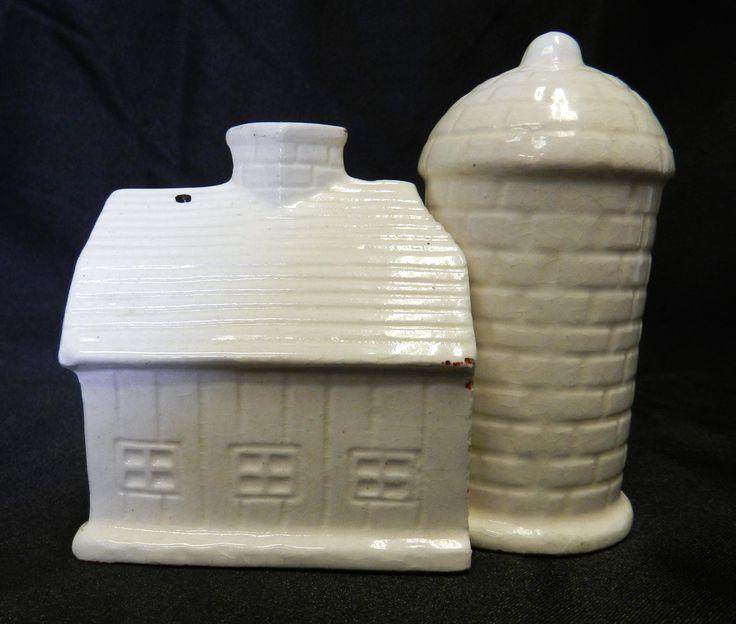 old grain silos for sale   Vintage Ceramic White Barn Grain Silo Hugger Salt Pepper Shakers Japan ...