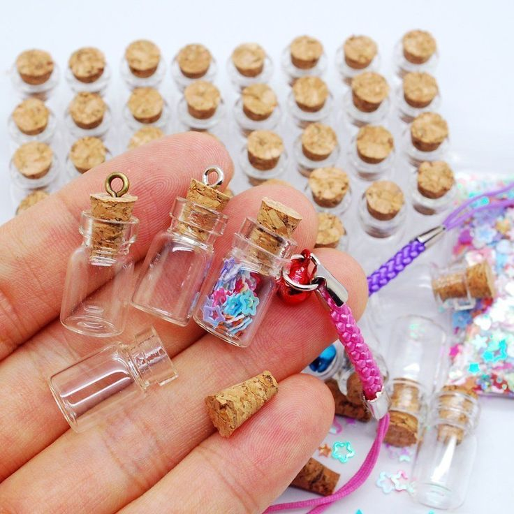 2.90  *** 0.05ml 50 Pcs Small Mini Clear Jars Glass Bottles with Cork Stoppers #Podoy