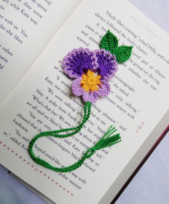 Handmade crocheted gorgeous pansy flower bookmark. About 9 1/2 Long and 2 1/2 Wi…