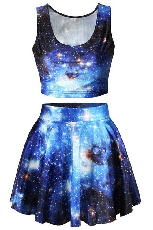 Click here:    Pink Queen® Blue Galaxy Print 2 Piece Crop Tank Top Tees and Flare Skirt Set