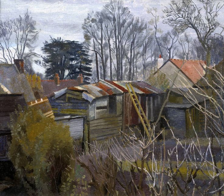 Charles Mahoney (1903–1968) Outhouses (c.1940) Oil paint on canvas