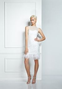 Sequin Dress - Ivory Abstract Sequin Dress with Ostrich Feather Trim.