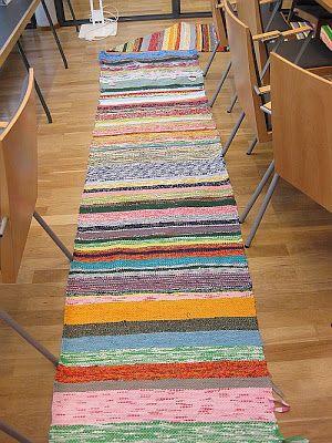 Käskori: Räsymatto. Traditional Finnish hand made loom rug.