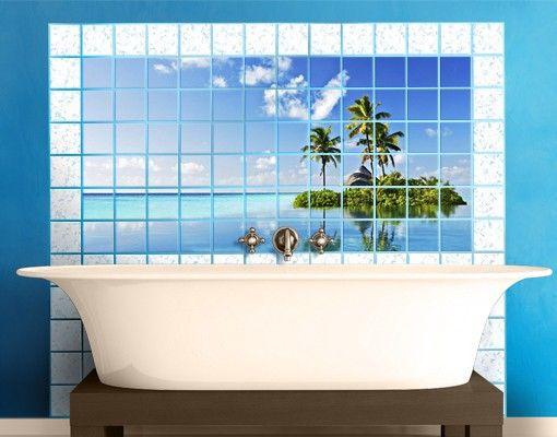 #Fliesenbild Tropisches #Paradies #Fliesensticker #Fliesenbild #Fliesendeko #Fliesenaufkleber #Bad oder #Küche