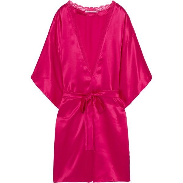 Stella McCartney Clara Whispering lace-trimmed silk robe ($375) ❤ liked on Polyvore featuring intimates, robes, sleepwear, bright pink, stella mccartney, kimono robe, silk robe, silk kimono robe y pink kimono