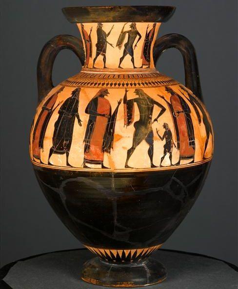 Affecter (fl. c. 550 - 530/520 BCE), Musee du Louvre, Paris F 20 (543/542-525 BCE). Black-figure neck-amphora. Side A.