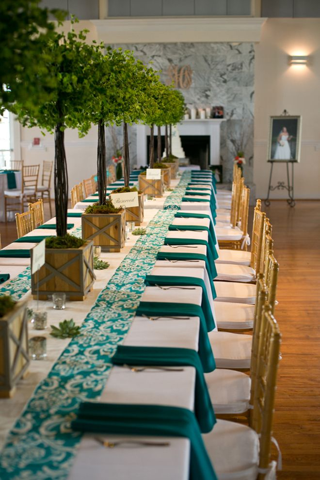 White and teal long table (Carmen Ash Photography // Floral Designer: Blossoms Events // Event Planner: Elizabeth Grace Occasions, LLC)