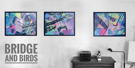 Abstract Acrylic Paintings Collection  BRIDGE and BIRD by kacix