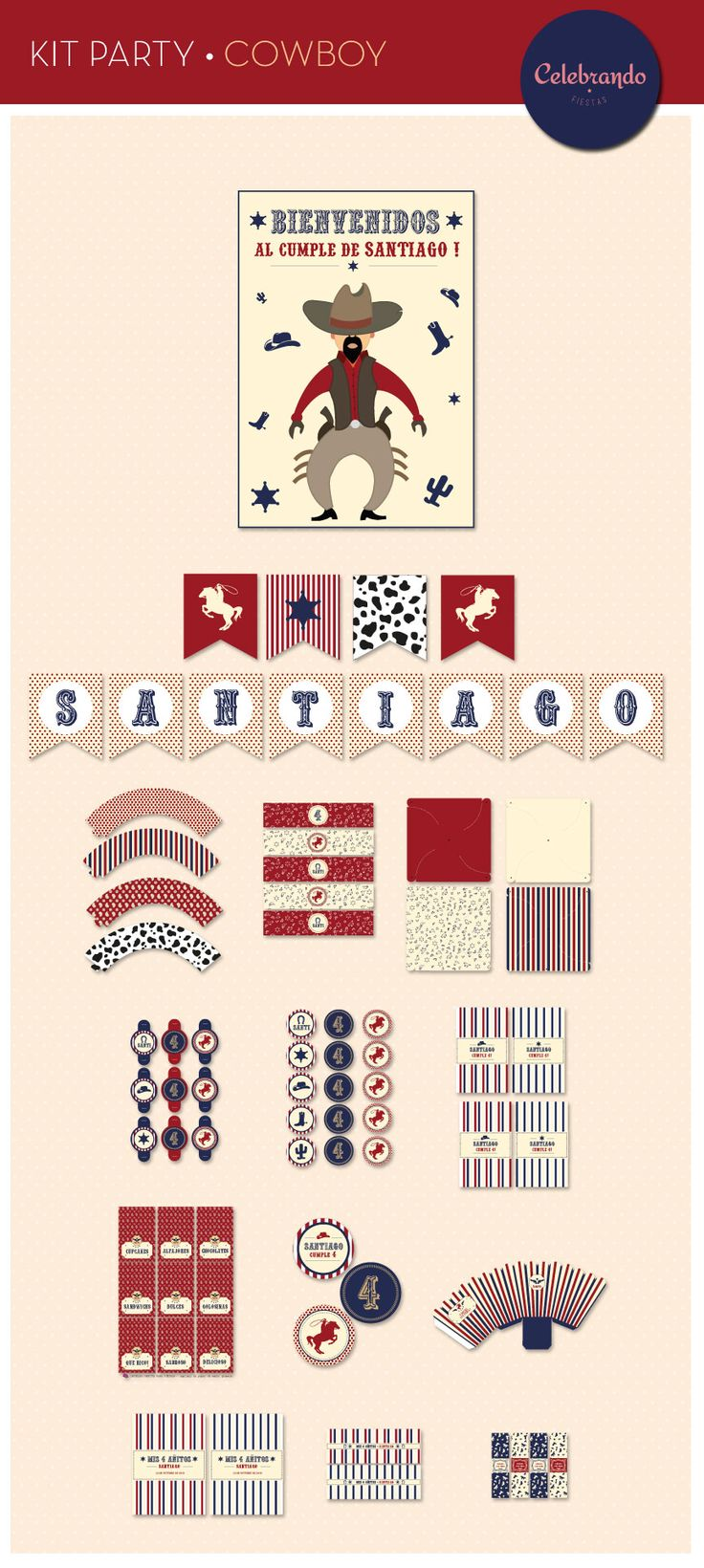 Kit imprimible Cowboy - Celebrando Fiestas