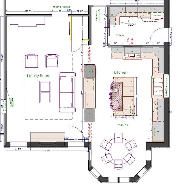 L Shaped Kitchen Floor Plans With Island: Kitchen / Dining Area With TONS Of Counter Space And A Large Island For Prep.