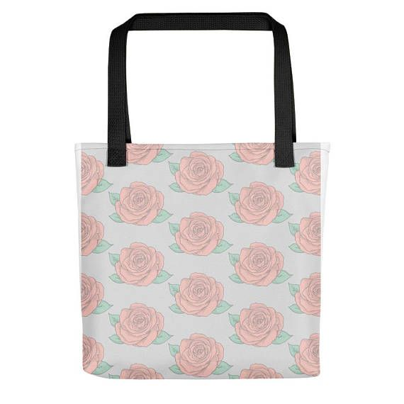 """Soft Pastel Roses Tote bag   Floral tote bag   rose art   rose theme   tattoo style rose  • 100% spun polyester weather resistant fabric • Bag 15"""" x 15"""" (38.1cm x 38.1cm) • Capacity – 2.6 US gal (10l) • Maximum weight limit – 11lbs (5kg) • Dual handles 100% natural cotton bull denim • Handle length 11.8"""" (30 cm), width 1"""" (2.5cm) • Made in America #totebag #tote #stylishtote #graphictote #shoppingbag #etsy #etsyseller #etsyfinds #bags #purse #roses #tattoostyle #pastelrose #pasteltotebags"""
