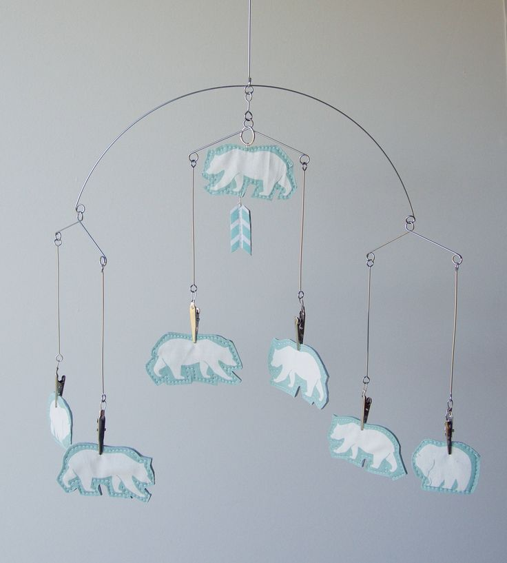Woodlands Mobile - Minimalist Bears Baby Mobile - Scandinavian Design - Mint & White by PetiteMBaby on Etsy