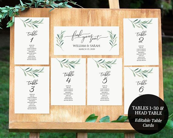Greenery Seating Chart Printable Seating Cards 5x7 Table Etsy Wedding Seating Cards Wedding Table Assignments Seating Cards