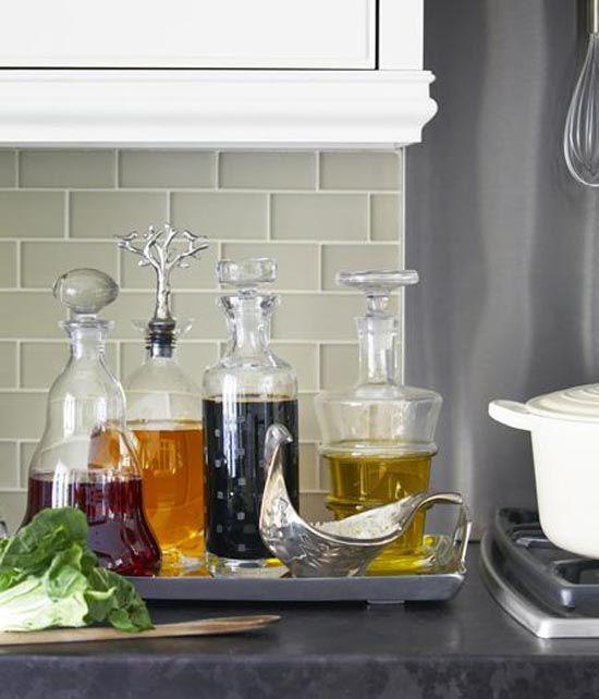 Oils and vinegars stored in pretty bottles