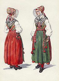 Folkdräkt, kvinnodräkt från Åls socken i Dalarna. Akvarell av Emelie von Walterstorff - Nordiska Museet - NMA.0054388.jpg
