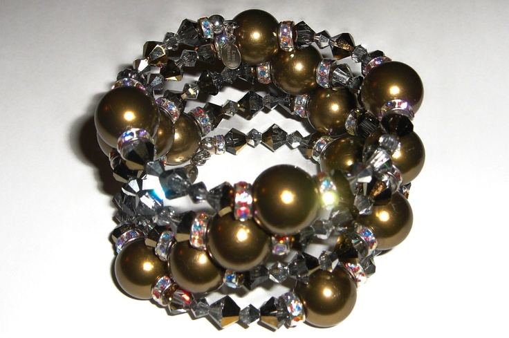 Swarovski Crystal and Pearl Wrap Bracelet in Antique Gold. $326.00, via Etsy.