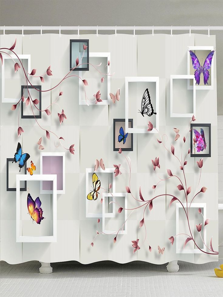 Photo Frame Flower Butterfly Shower Curtain - WHITE W71 INCH * L71 INCH