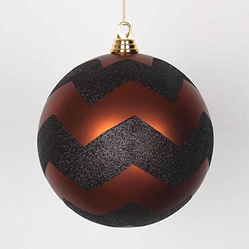 Felices Pascuas Collection Copper Matte with Black Glitter Chevron Christmas Ball Ornament 8 inch (200mm)