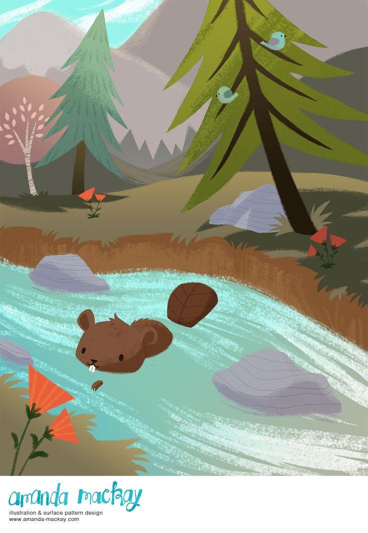 Little Beaver Swimming - by Amanda MacKay Illustration
