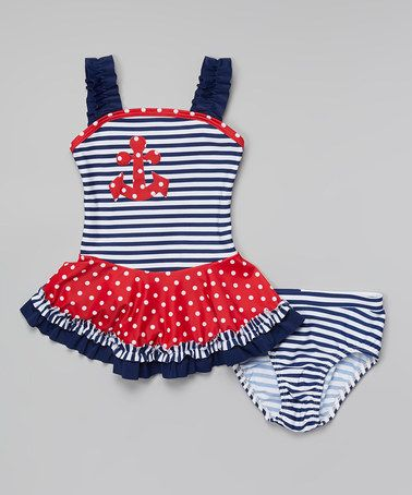 Loving this Navy & Red Nautical Tankini - Infant, Toddler & Girls on #zulily! #zulilyfinds