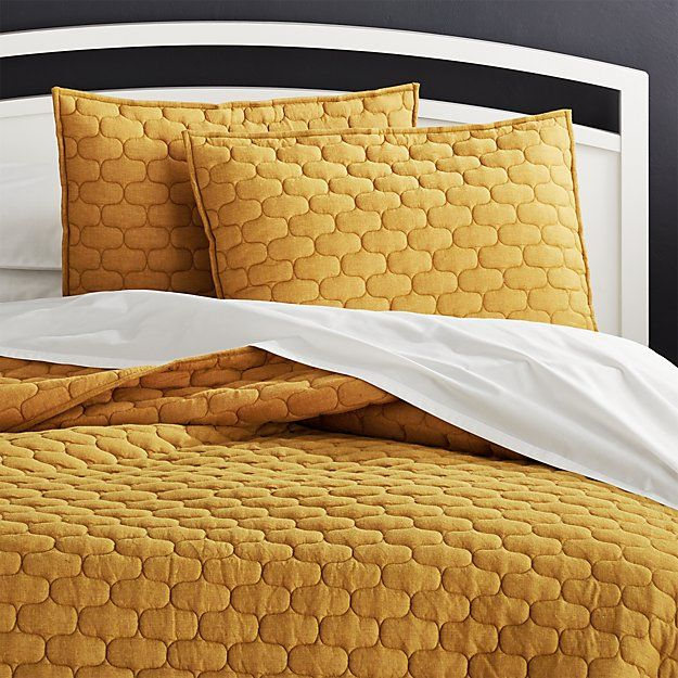 Fontaine Mustard Yellow Cotton Quilts And Pillow Shams Crate And