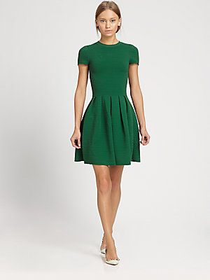 All about #emerald - #Valentino Ribbed Open-Back Dress