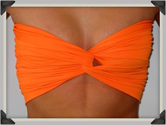 Bright Orange Bandeau Top  Spandex Bandeau  Bandeau by Sidewalk616, $20.00