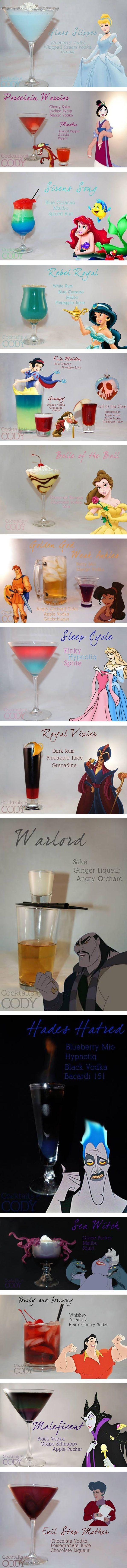 Disney princess themed cocktails
