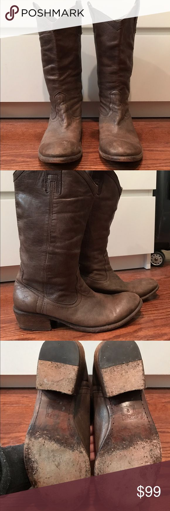 Frye brown/grey leather boots Frye brown/grey leather boots. Leather scuffs on toes Frye Shoes Heeled Boots