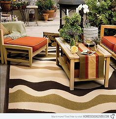 decorative outdoor rugs, outdoor furniture, outdoor living, reupholster, Brown Beige Outdoor Rug by Home Infatuation