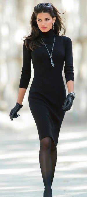 Simply black knit dress