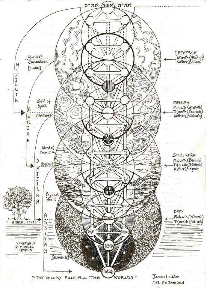 """The Tree of Life, más néven Jákob lajtorjája.  Ez egy kabbalista kép, de érdekes módon a gömbök a fa overlay a virág az élet """"szent"""" geometriai formája;  rendelkezik, így Primal Pattern of Nature."""