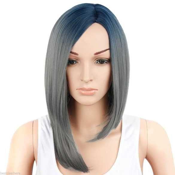 Ombre pruik blauw grijs steil haar zonder pony