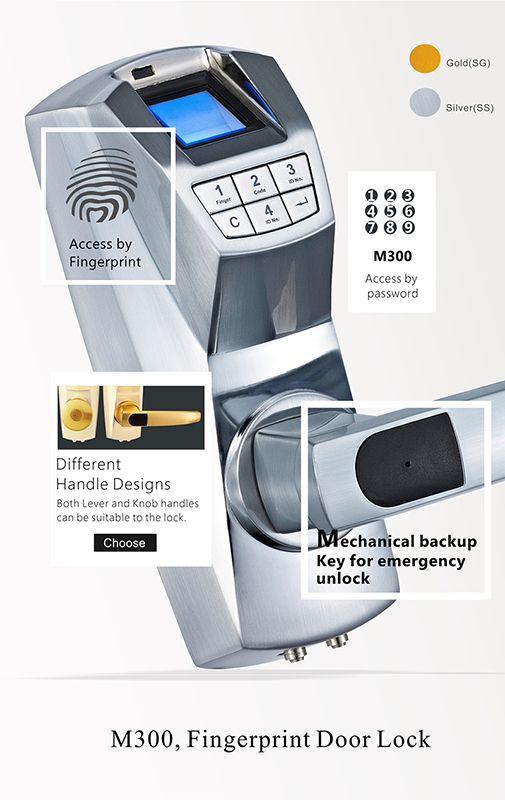 M300 Zinc alloy fingerprint electronic glass lock