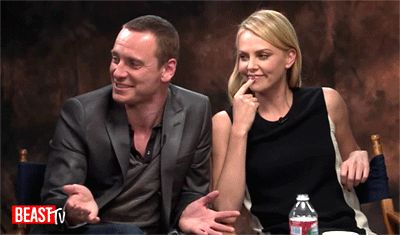 Michael Fassbender and Charlize Theron at 'Newsweek's 2012 Oscar Roundtable'
