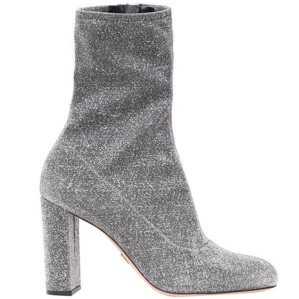 Oscar Tiye Giorgia silver ankle boots (£575) ❤ liked on Polyvore featuring shoes, boots, ankle booties, argento, silver boots, ankle bootie boots, bootie boots, silver booties and summer ankle boots