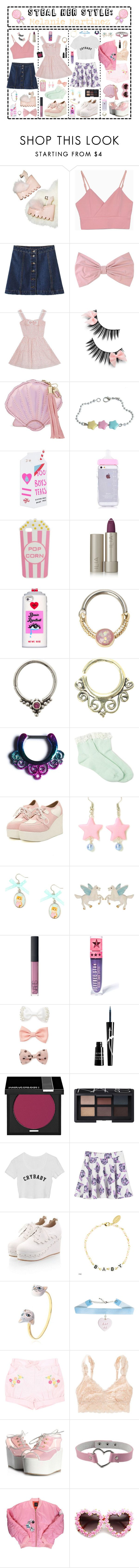 """""""- ̗̀ Steal Her Style: Melanie Martinez  ̖́-"""" by i-get-a-little-bit-breathless ❤ liked on Polyvore featuring Current Mood, PINK BOW, Skinnydip, Valfré, Ilia, Halftone Bodyworks, Forever 21, NARS Cosmetics, Jeffree Star and Rouge Bunny Rouge"""