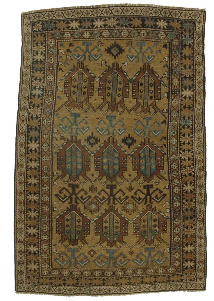 """3'10"""" X 5'9"""" Antique Hand Knotted Russian Caucasian Rug"""