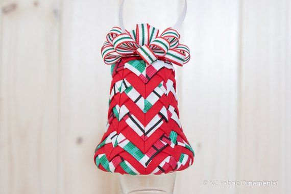 Bell Christmas Fabric Ornament - bell ornament - Diamond Plaid