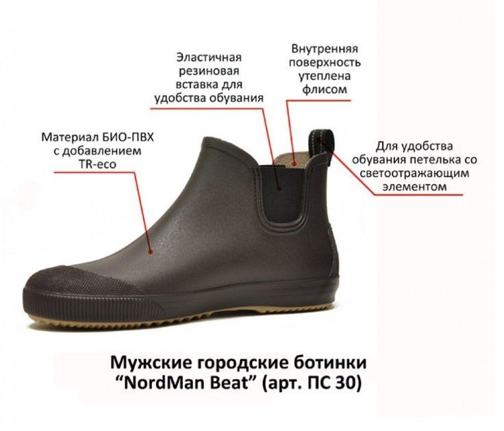 купить мужские резиновые ботинки, NordMan Beat, ПС 30, городские резиновые ботинки, сапоги резиновые мужские