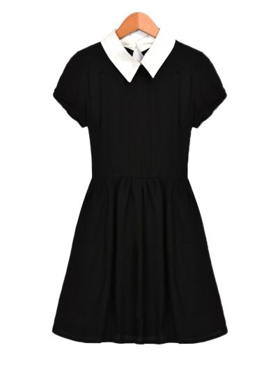 Black Women's Casual Collar Doll Dress
