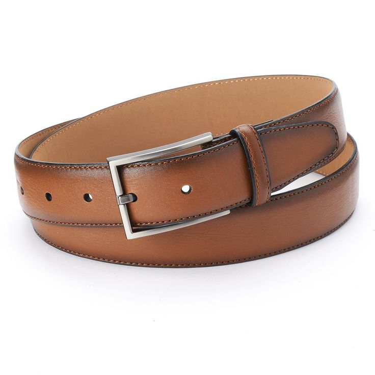 Dockers® Feather-Edge Stitched Tan Leather Belt - Men, Size: 34, Dark Beige
