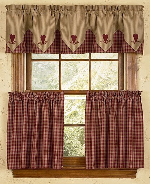 Country Red Kitchen Curtains: Albemarle Shower Curtain, Primitive Shower Curtain, Red And White Shower