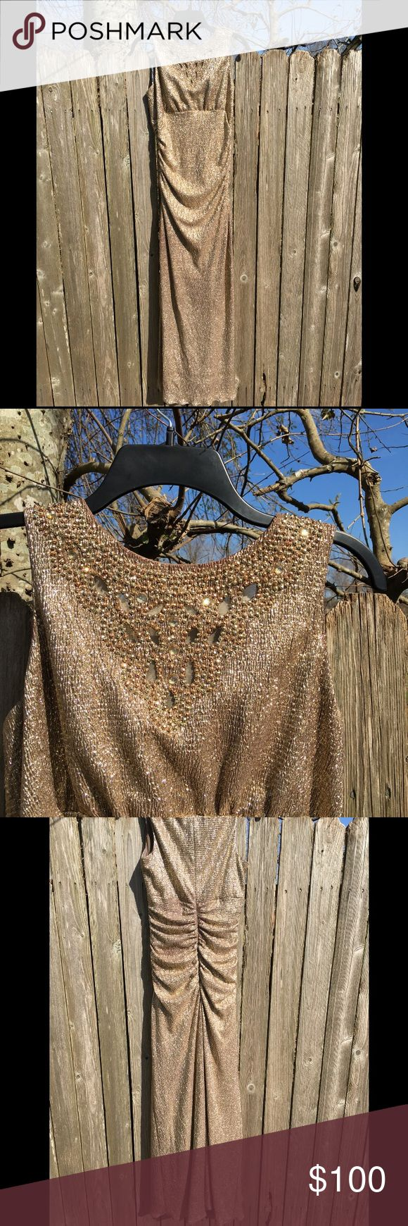 """WOMENS Gold Metallic long dress Length of dress- 60"""" Gently used in good condition Dresses"""