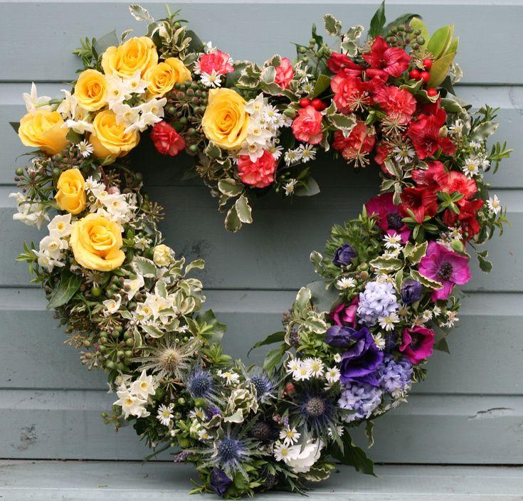 Rainbow heart wreath www.thestockbridgeflowercompany.co.uk