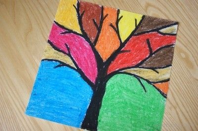 Jesienne drzewo- pastele olejne. Autumn of stands oil pastels.